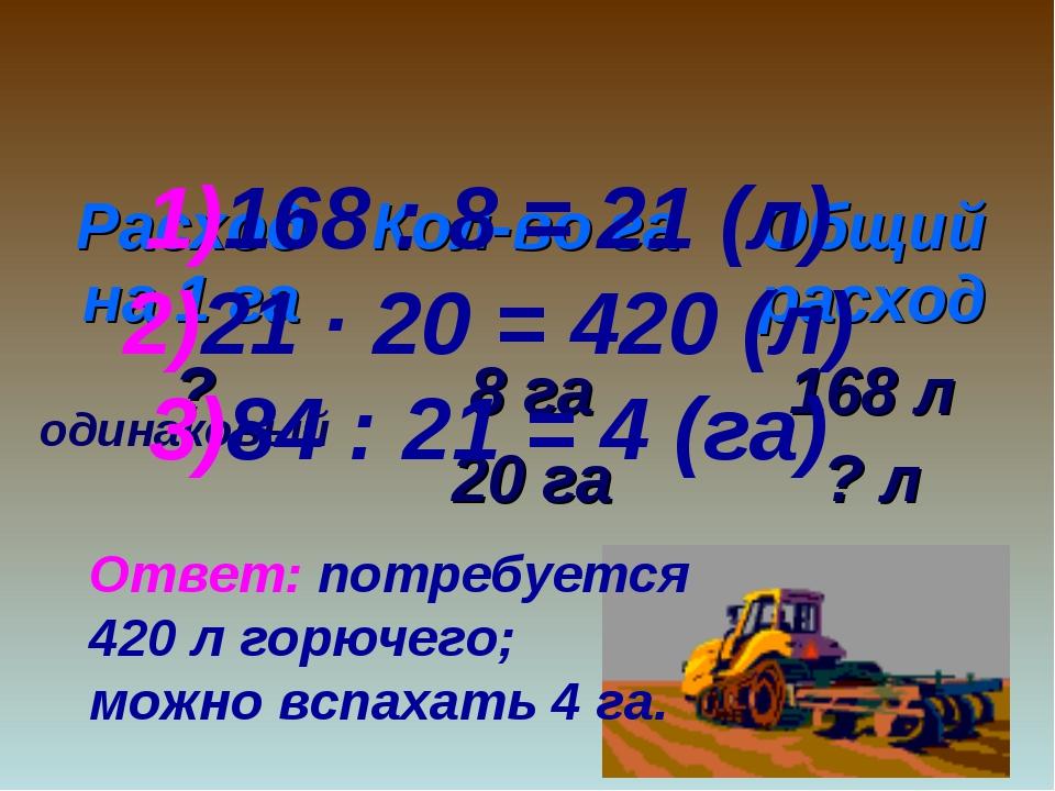 одинаковый 168 : 8 = 21 (л) 21 ∙ 20 = 420 (л) 84 : 21 = 4 (га) Ответ: потребу...