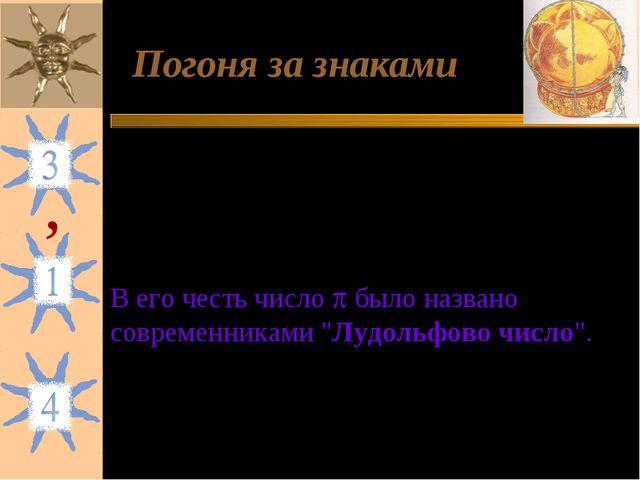 Погоня за знаками 1)Андриан Антонис - 6 точных десятичных знаков (в XVI в.);...