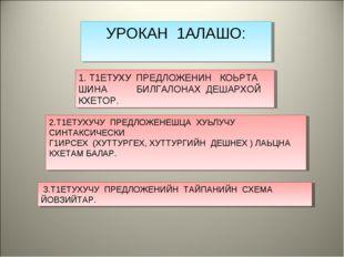 УРОКАН 1АЛАШО: 2.Т1ЕТУХУЧУ ПРЕДЛОЖЕНЕШЦА ХУЬЛУЧУ СИНТАКСИЧЕСКИ Г1ИРСЕХ (ХУТТУ