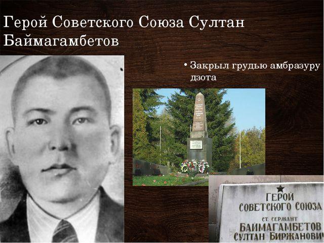 Герой Советского Союза Султан Баймагамбетов Закрыл грудью амбразуру дзота