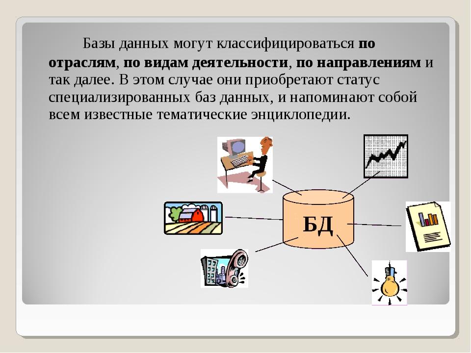 Базы данных могут классифицироваться по отраслям, по видам деятельности, по...