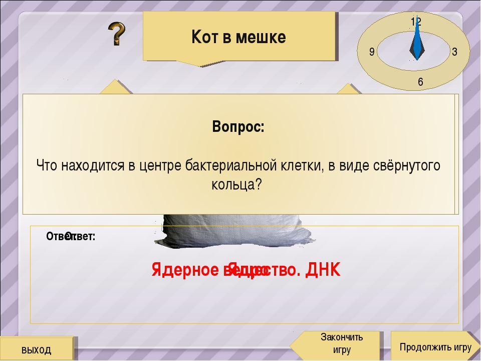 12 3 6 9 Бактерии Продолжить игру Закончить игру 1 5 Ответ: Ядро Ответ: Ядерн...