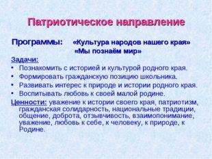 Патриотическое направление Программы: «Культура народов нашего края» «Мы позн