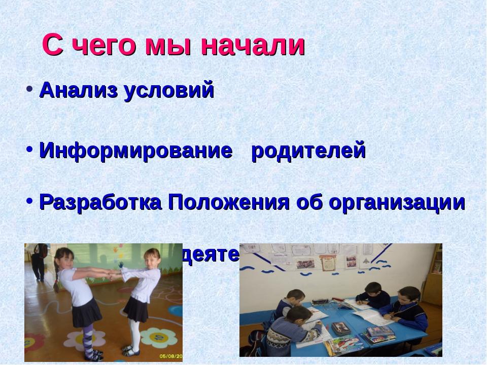 С чего мы начали Анализ условий Информирование родителей Разработка Положения...