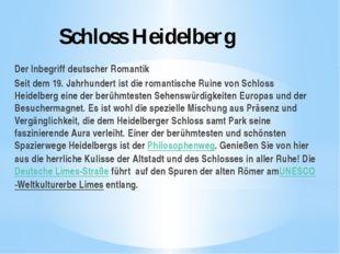 Schloss Heidelberg Der Inbegriff deutscher Romantik Seit dem 19. Jahrhundert