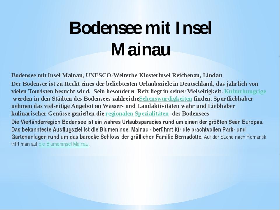 Bodensee mit Insel Mainau Bodensee mit Insel Mainau, UNESCO-Welterbe Klosteri...