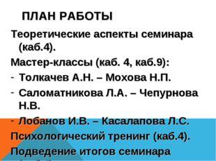 ПЛАН РАБОТЫ Теоретические аспекты семинара (каб.4). Мастер-классы (каб. 4, ка