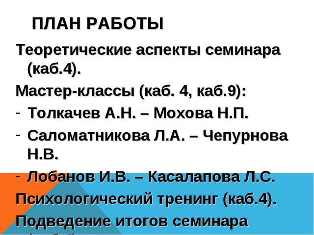 ПЛАН РАБОТЫ Теоретические аспекты семинара (каб.4). Мастер-классы (каб. 4, ка...
