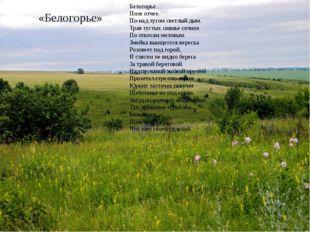 «Белогорье» Белогорье… Поле отчее. По-над лугом светлый дым. Трав густых сиян