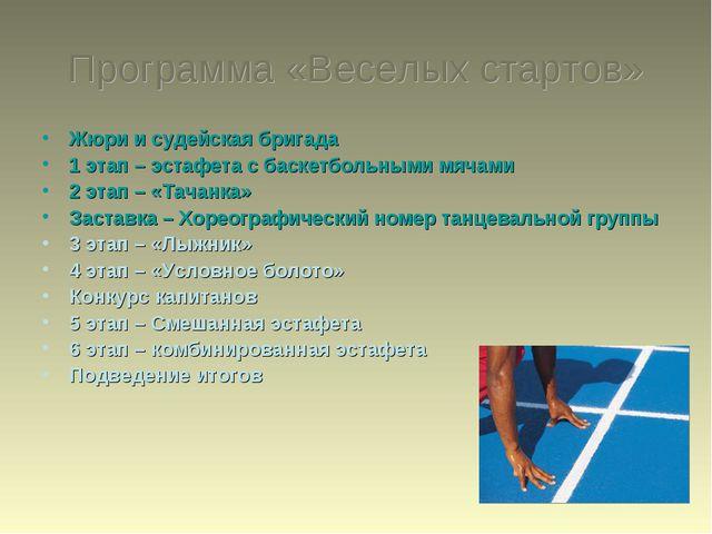 Программа «Веселых стартов» Жюри и судейская бригада 1 этап – эстафета с баск...