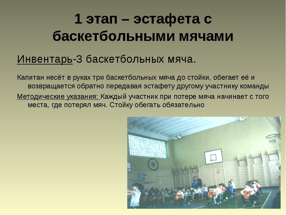 1 этап – эстафета с баскетбольными мячами Инвентарь-3 баскетбольных мяча. Кап...
