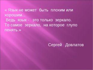 « Язык не может быть плохим или хорошим... Ведь язык - это только зеркало. То
