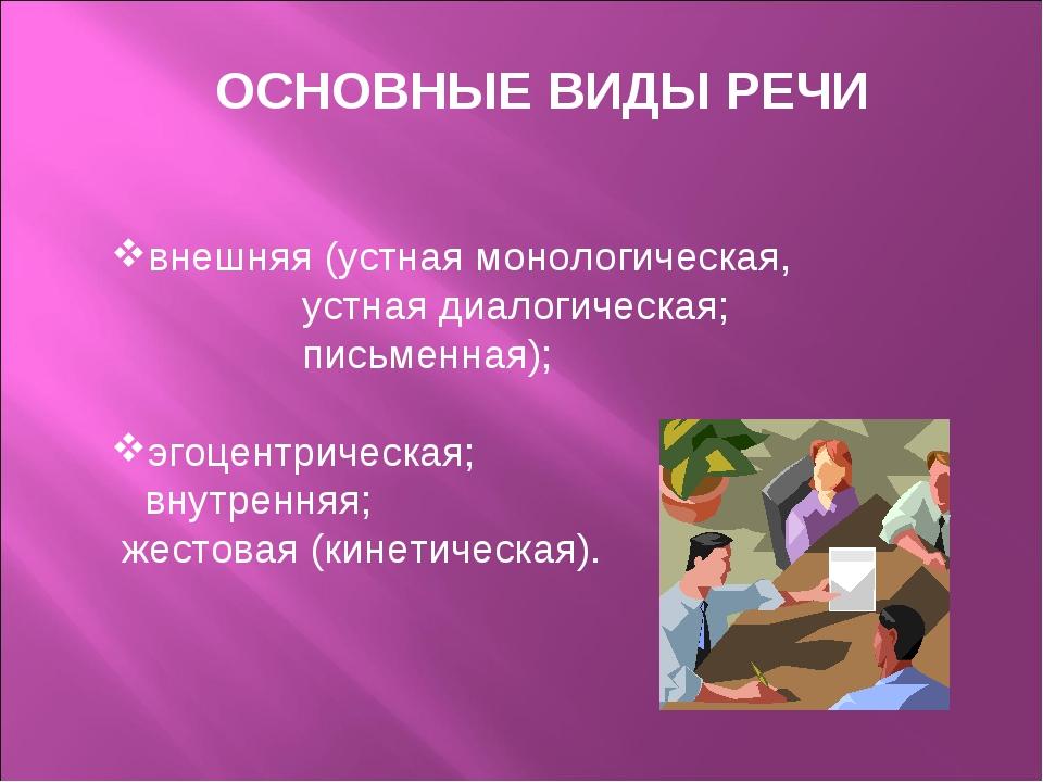 ОСНОВНЫЕ ВИДЫ РЕЧИ  внешняя (устная монологическая, устная диалогическая; п...