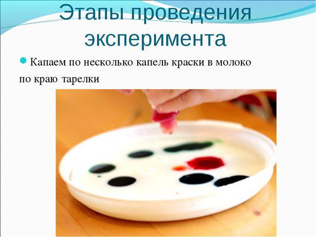 Этапы проведения эксперимента Капаем по несколько капель краски в молоко по к...
