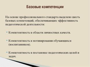 На основе профессионального стандарта выделено шесть базовых компетенций, обе