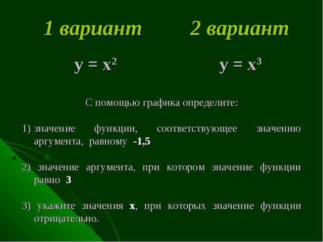 1 вариант 2 вариант у = х2 у = х3 С помощью графика определите: значение фун...