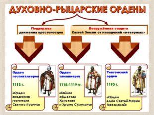 ОРДЕН ТАМПЛИЕРОВ – (от французского «храм»); Основан: группой французских рыц