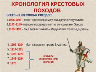 ХРОНОЛОГИЯ КРЕСТОВЫХ ПОХОДОВ ВСЕГО – 8 КРЕСТОВЫХ ПОХОДОВ: 1.1096-1099 - захва