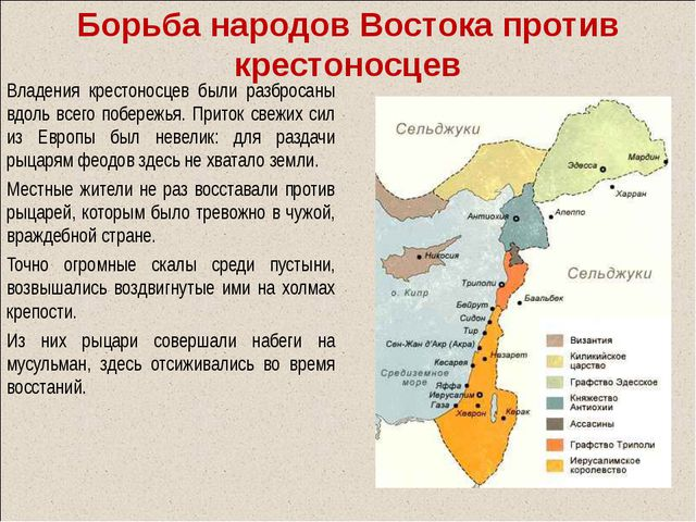 Борьба народов Востока против крестоносцев Владения крестоносцев были разброс...