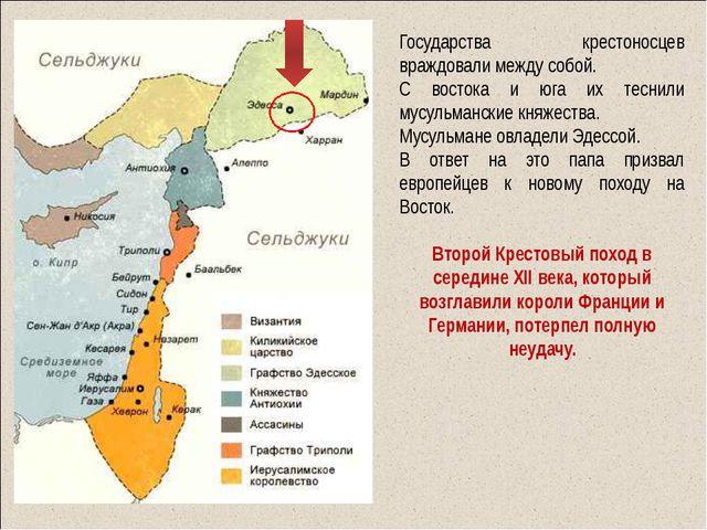 Государства крестоносцев враждовали между собой. С востока и юга их теснили...