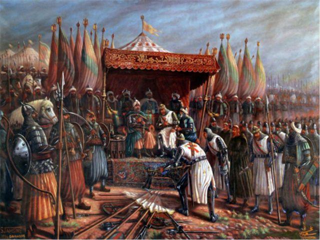 Салах ад-Дин окружил и разгромил в сражении крупные силы крестоносцев. Лишь н...