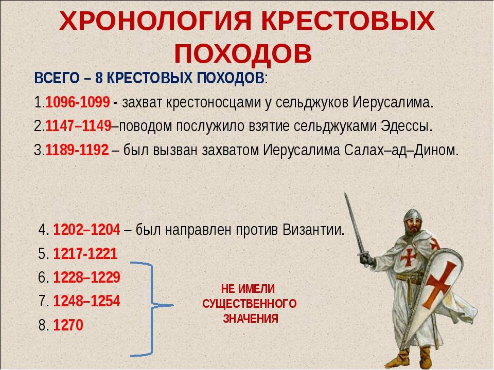 ХРОНОЛОГИЯ КРЕСТОВЫХ ПОХОДОВ ВСЕГО – 8 КРЕСТОВЫХ ПОХОДОВ: 1.1096-1099 - захва...