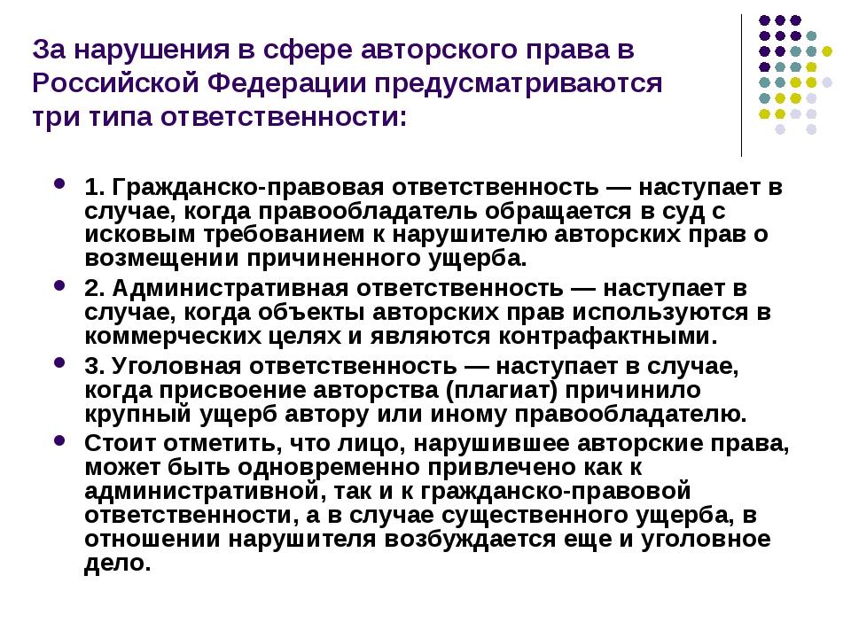 За нарушения в сфере авторского права в Российской Федерации предусматриваютс...