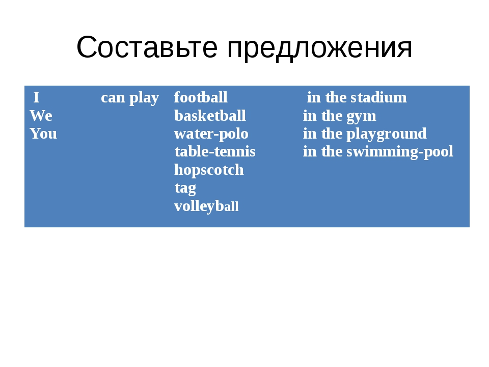 Составьте предложения I We You can play football basketball water-polo table-...