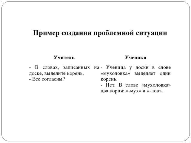 Пример создания проблемной ситуации УчительУченики - В словах, записанных на...