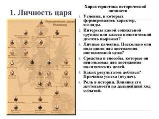 1. Личность царя Характеристика исторической личности Условия, в которых форм