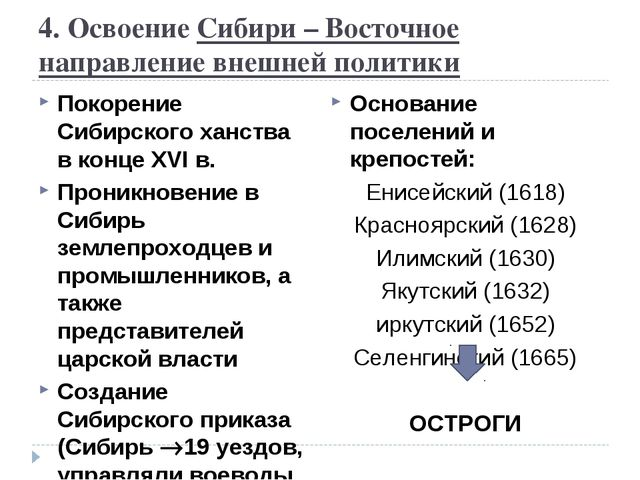 4. Освоение Сибири – Восточное направление внешней политики Покорение Сибирск...