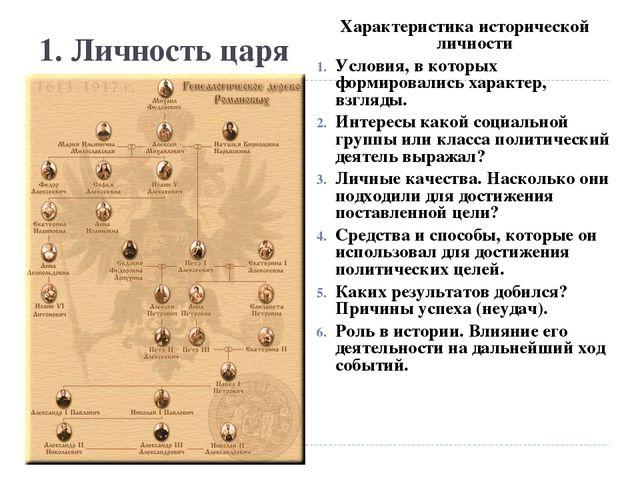 1. Личность царя Характеристика исторической личности Условия, в которых форм...