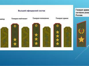 Генерал армии с2013 года, согласноуказу Президента России.