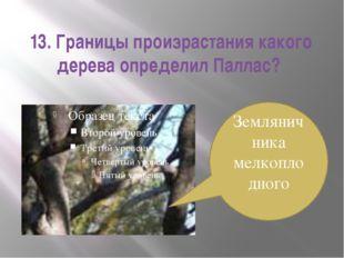 13. Границы произрастания какого дерева определил Паллас? Земляничника мелкоп