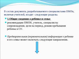 В состав документа, разрабатываемого специалистами ПМПк, включая учителей, вх