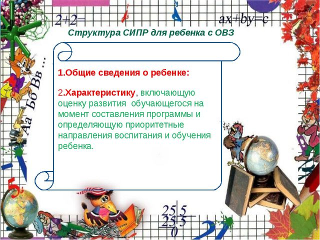 Структура СИПР для ребенка с ОВЗ 1.Общие сведения о ребенке: 2.Характеристик...
