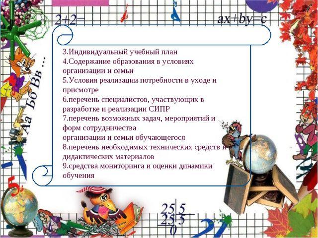 3.Индивидуальный учебный план 4.Содержание образования в условиях организации...