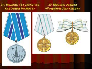 34. Медаль «За заслуги в освоении космоса» 35. Медаль ордена «Родительская сл