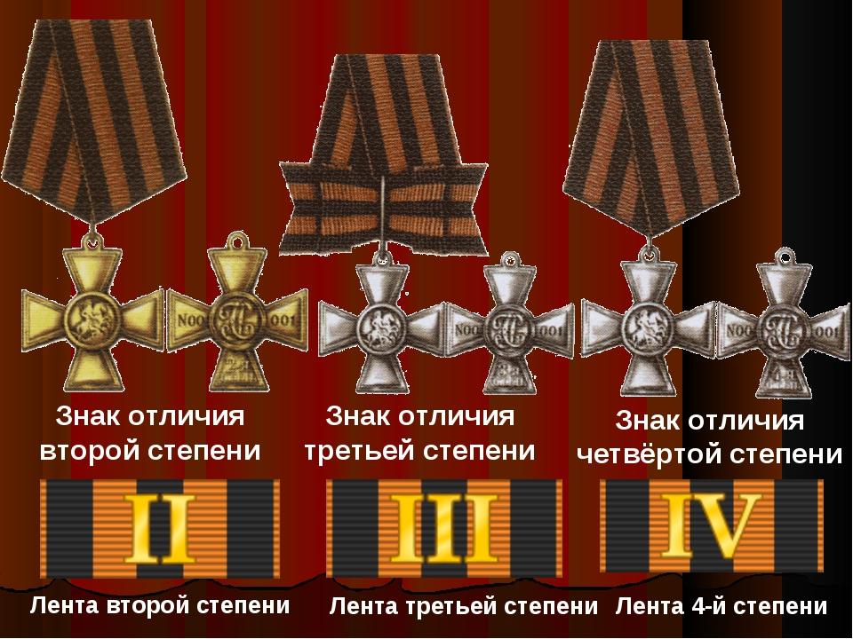 Знак отличия второй степени Знак отличия третьей степени Знак отличия четвёрт...
