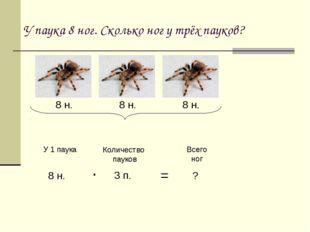 У паука 8 ног. Сколько ног у трёх пауков? 8 н. 8 н. 8 н. У 1 паука Количество
