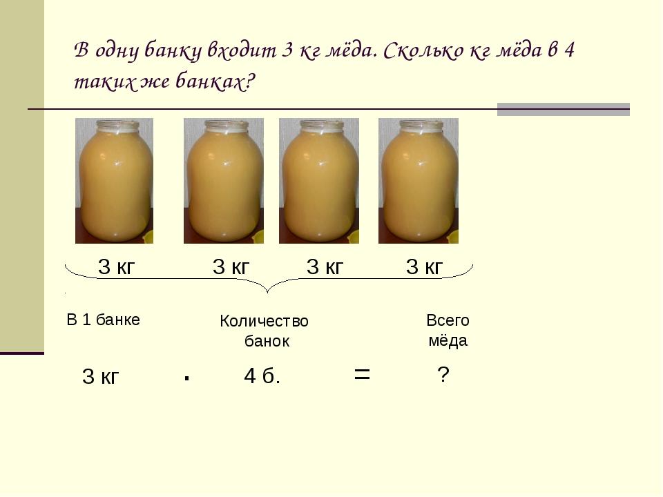 В одну банку входит 3 кг мёда. Сколько кг мёда в 4 таких же банках? 3 кг 3 кг...