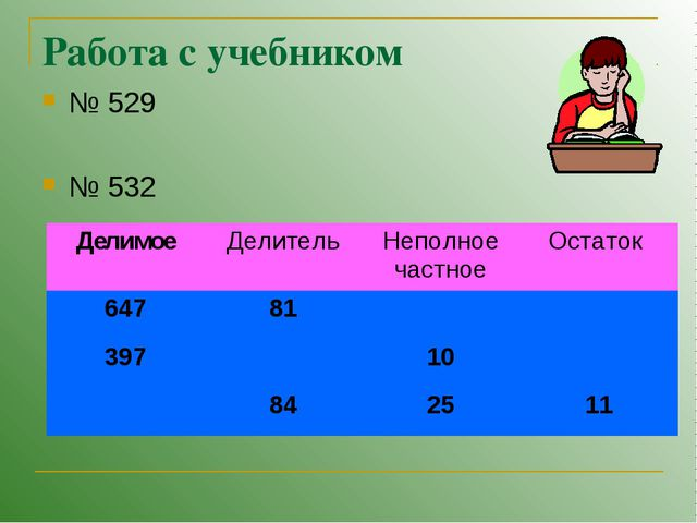 Работа с учебником № 529 № 532 ДелимоеДелительНеполное частноеОстаток 647...