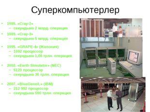 Суперкомпьютерлер 1985. «Cray-2» секундына 2 млрд. операция 1989. «Cray-3» се