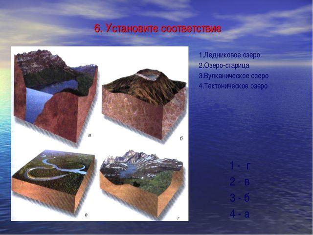 6. Установите соответствие 1.Ледниковое озеро 2.Озеро-старица 3.Вулканическо...