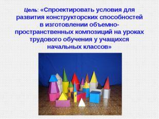 Цель: «Спроектировать условия для развития конструкторских способностей в изг