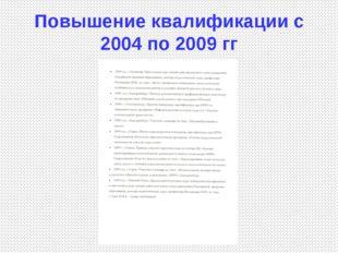 Повышение квалификации с 2004 по 2009 гг