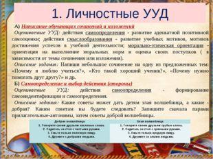 1. Личностные УУД А) Написание обучающих сочинений и изложений Оцениваемые УУ