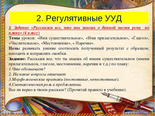 2. Регулятивные УУД 3. Задание «Расскажи все, что ты знаешь о данной части ре...