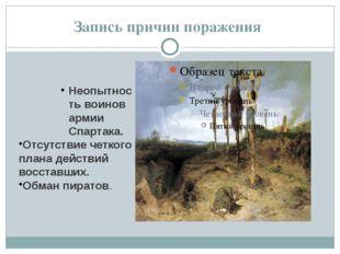 Запись причин поражения Неопытность воинов армии Спартака. Отсутствие четкого