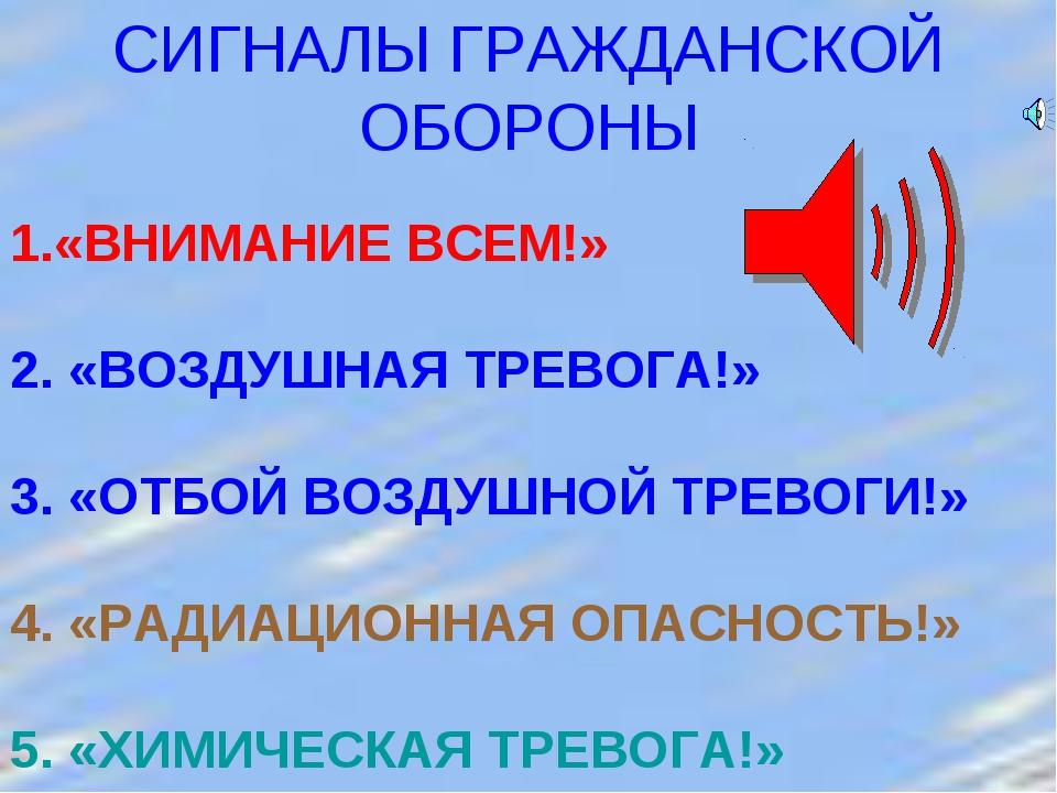 СИГНАЛЫ ГРАЖДАНСКОЙ ОБОРОНЫ «ВНИМАНИЕ ВСЕМ!» 2. «ВОЗДУШНАЯ ТРЕВОГА!» 3. «ОТБО...